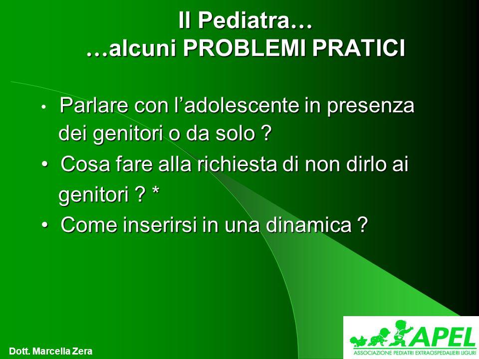 Il Pediatra … … alcuni PROBLEMI PRATICI Parlare con ladolescente in presenza dei genitori o da solo .