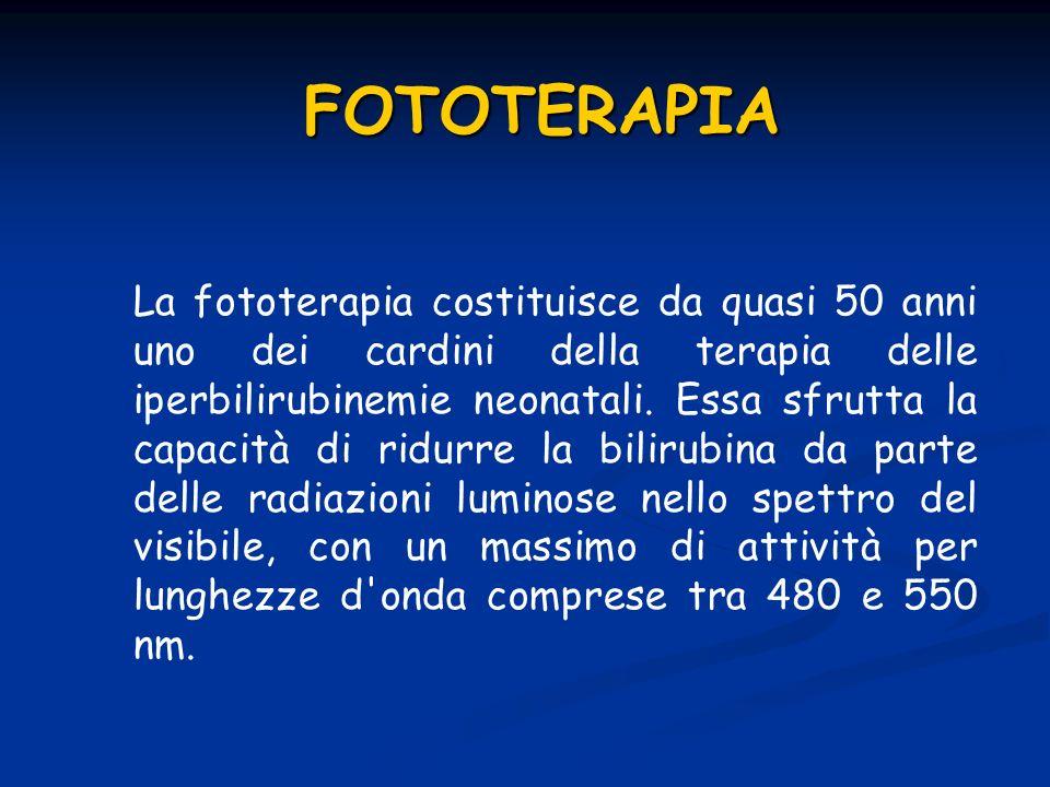 FOTOTERAPIA La fototerapia costituisce da quasi 50 anni uno dei cardini della terapia delle iperbilirubinemie neonatali. Essa sfrutta la capacità di r