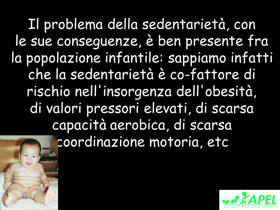 Il problema della sedentarietà, con le sue conseguenze, è ben presente fra la popolazione infantile: sappiamo infatti che la sedentarietà è co-fattore