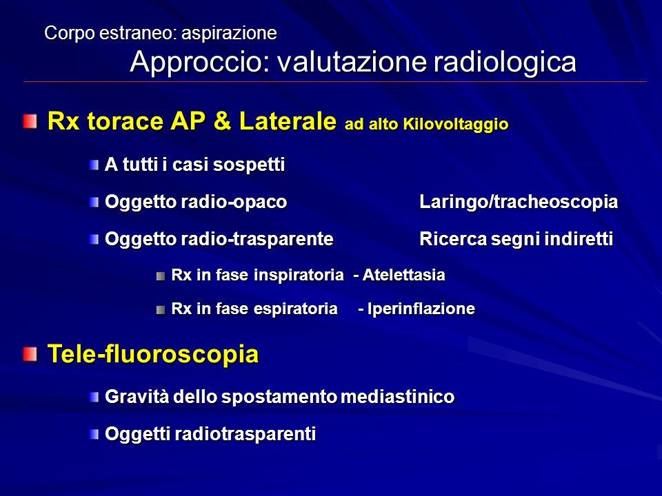 Corpo estraneo: aspirazione Approccio: valutazione radiologica Rx torace AP & Laterale ad alto Kilovoltaggio A tutti i casi sospetti Oggetto radio-opa