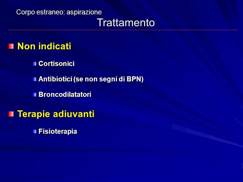 Non indicati Cortisonici Antibiotici (se non segni di BPN) Broncodilatatori Terapie adiuvanti Fisioterapia Corpo estraneo: aspirazione Trattamento