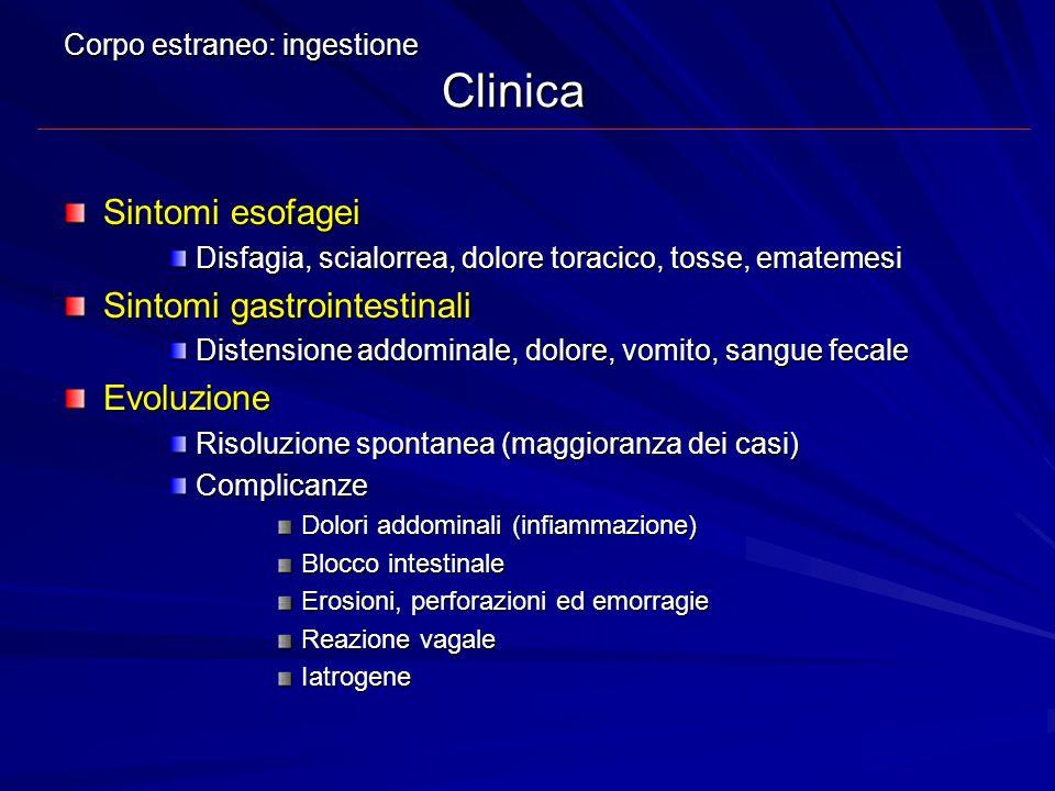 Corpo estraneo: ingestione Clinica Sintomi esofagei Disfagia, scialorrea, dolore toracico, tosse, ematemesi Sintomi gastrointestinali Distensione addo