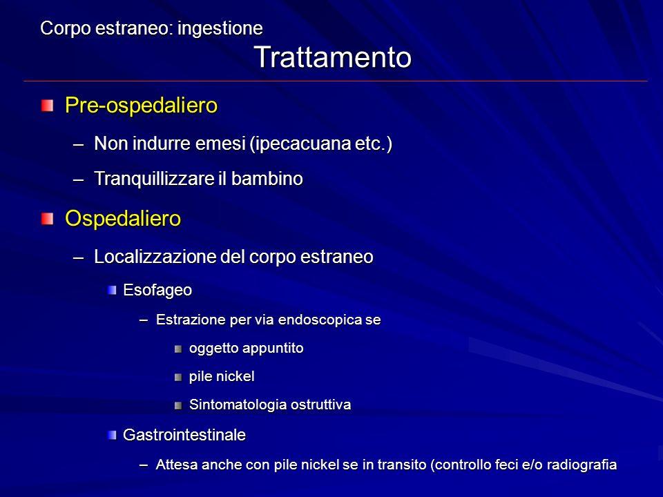 Corpo estraneo: ingestione Trattamento Pre-ospedaliero –Non indurre emesi (ipecacuana etc.) –Tranquillizzare il bambino Ospedaliero –Localizzazione de