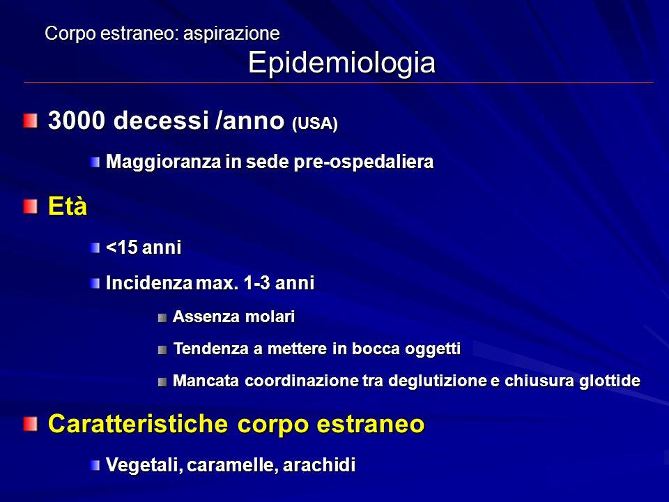 Corpo estraneo: aspirazione Epidemiologia 3000 decessi /anno (USA) Maggioranza in sede pre-ospedaliera Età <15 anni Incidenza max. 1-3 anni Assenza mo
