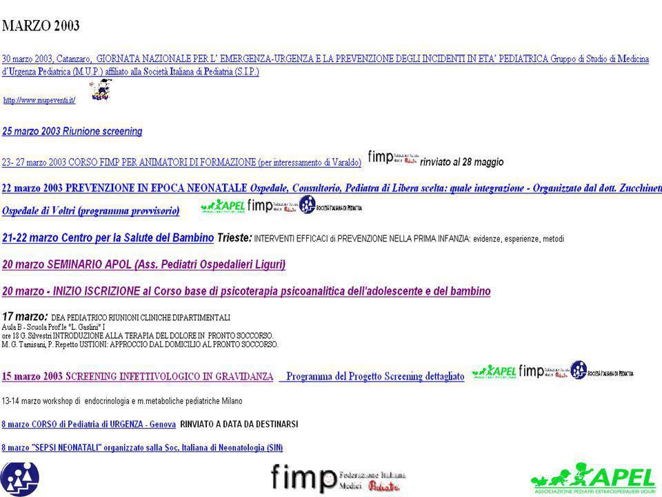 22 marzo 2003 PREVENZIONE IN EPOCA NEONATALE Ospedale, Consultorio, Pediatra di Libera scelta: quale integrazione - Organizzato dal dott. Zucchinetti