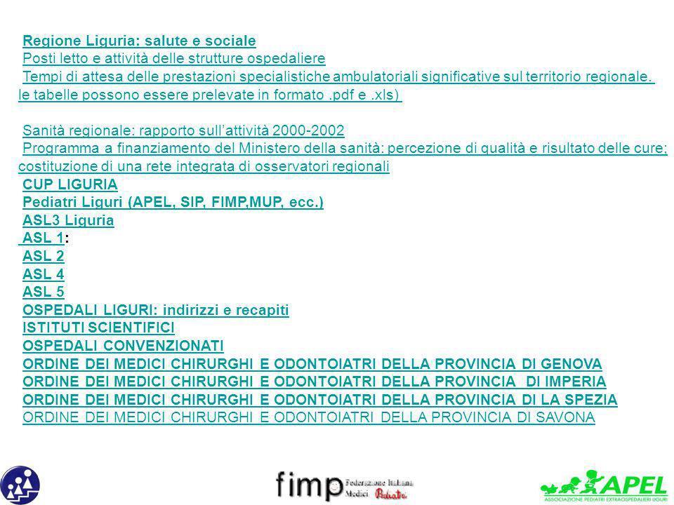 Regione Liguria: salute e sociale Posti letto e attività delle strutture ospedaliere Tempi di attesa delle prestazioni specialistiche ambulatoriali si