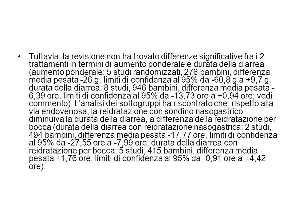 Tuttavia, la revisione non ha trovato differenze significative fra i 2 trattamenti in termini di aumento ponderale e durata della diarrea (aumento pon
