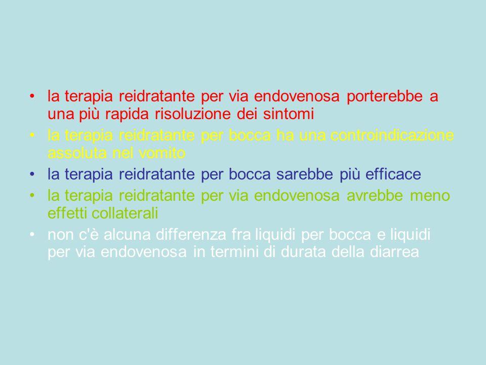 la terapia reidratante per via endovenosa porterebbe a una più rapida risoluzione dei sintomi la terapia reidratante per bocca ha una controindicazion