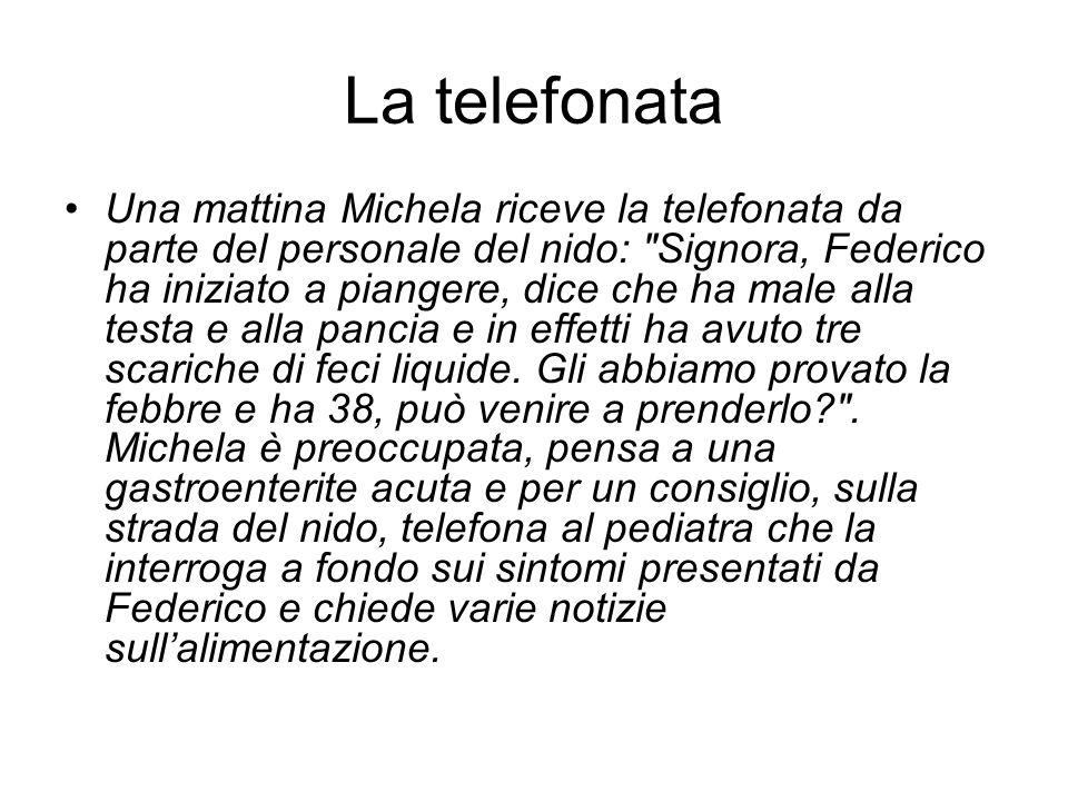 La telefonata Una mattina Michela riceve la telefonata da parte del personale del nido: