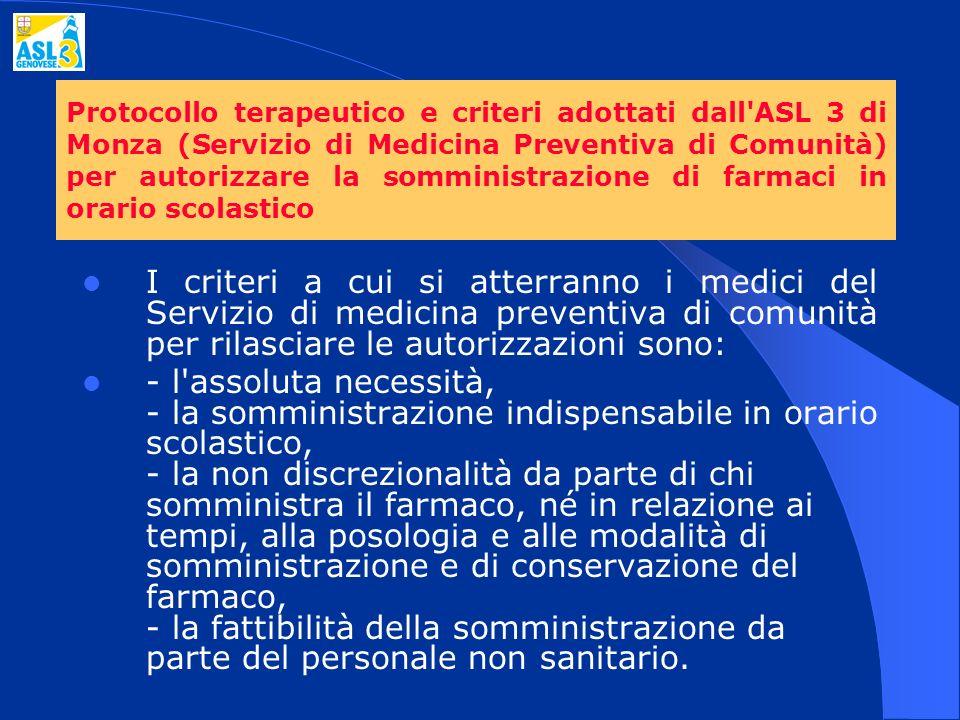 Protocollo terapeutico e criteri adottati dall'ASL 3 di Monza (Servizio di Medicina Preventiva di Comunità) per autorizzare la somministrazione di far