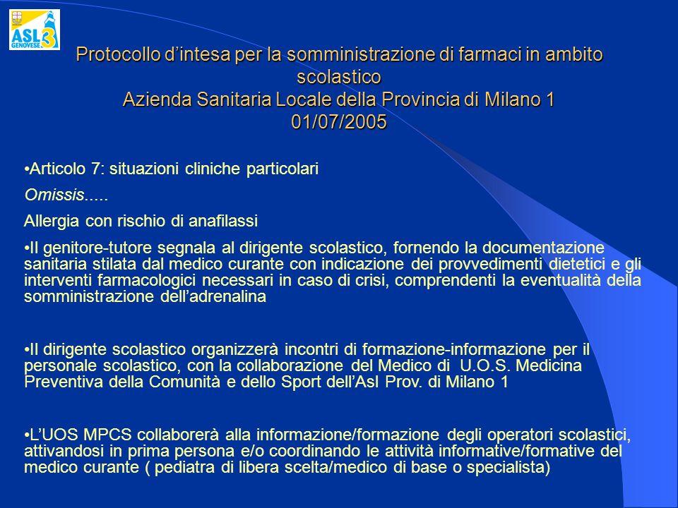 Protocollo dintesa per la somministrazione di farmaci in ambito scolastico Azienda Sanitaria Locale della Provincia di Milano 1 01/07/2005 Articolo 7: