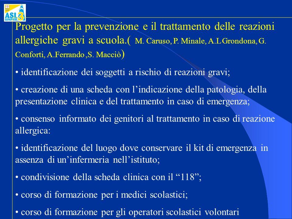 Progetto per la prevenzione e il trattamento delle reazioni allergiche gravi a scuola.( M. Caruso, P. Minale, A.L Grondona, G. Conforti, A.Ferrando,S.