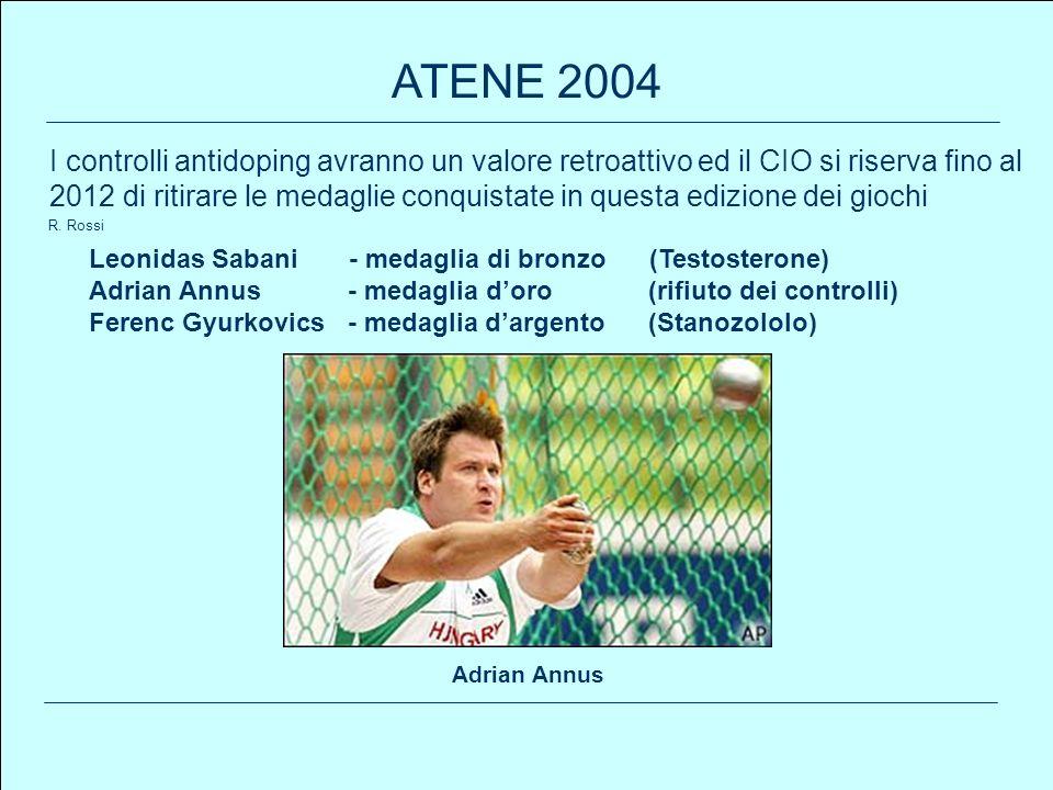 100 R. Rossi ATENE 2004 Leonidas Sabani - medaglia di bronzo (Testosterone) Adrian Annus - medaglia doro(rifiuto dei controlli) Ferenc Gyurkovics - me