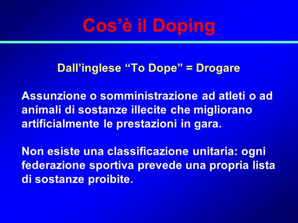 11 Cosè il Doping Dallinglese To Dope = Drogare Assunzione o somministrazione ad atleti o ad animali di sostanze illecite che migliorano artificialmen