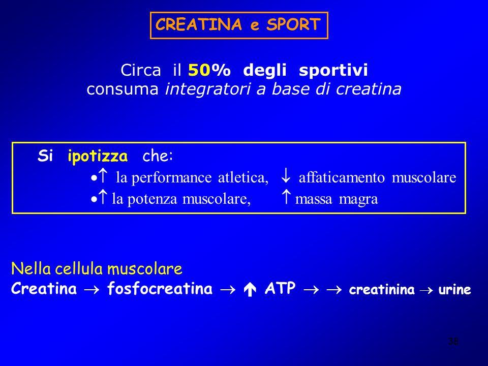 38 Circa il 50% degli sportivi consuma integratori a base di creatina CREATINA e SPORT Nella cellula muscolare Creatina fosfocreatina ATP creatinina u