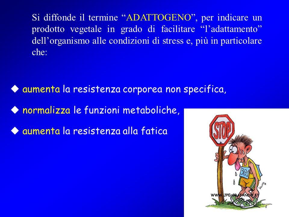 42 Si diffonde il termine ADATTOGENO, per indicare un prodotto vegetale in grado di facilitare ladattamento dellorganismo alle condizioni di stress e,