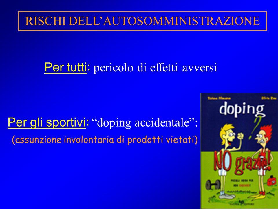 44 RISCHI DELLAUTOSOMMINISTRAZIONE Per tutti : pericolo di effetti avversi Per gli sportivi : doping accidentale: (assunzione involontaria di prodotti