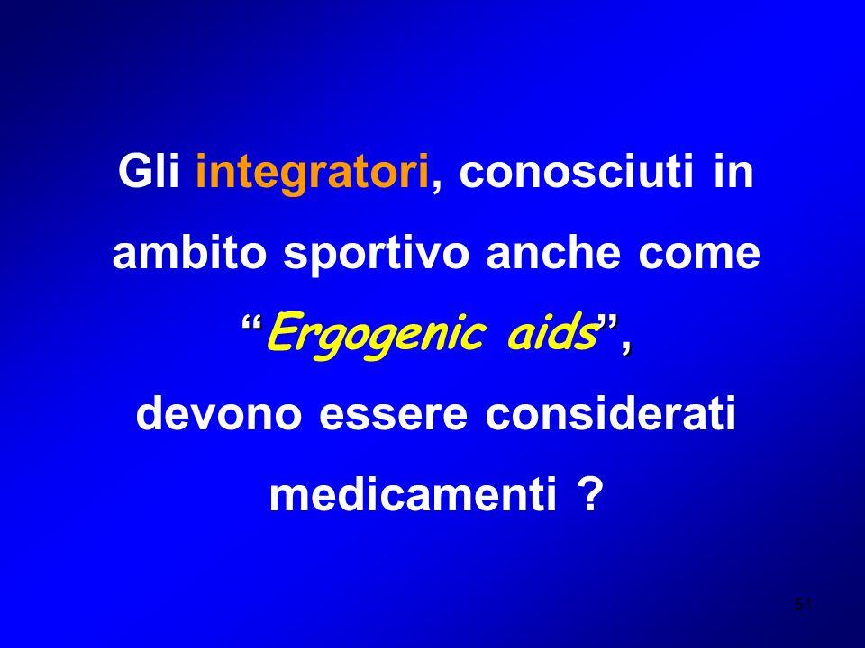 51 Gli integratori, conosciuti in ambito sportivo anche come, Ergogenic aids, devono essere considerati medicamenti ?