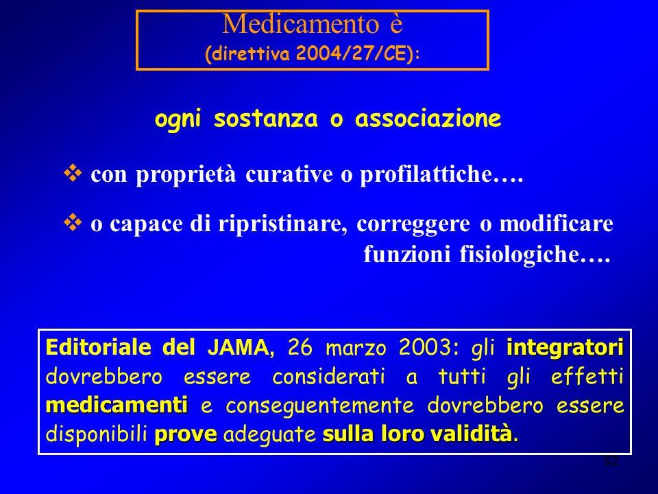 52 Medicamento è (direttiva 2004/27/CE): con proprietà curative o profilattiche…. o capace di ripristinare, correggere o modificare funzioni fisiologi