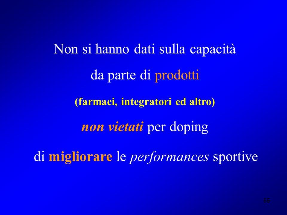 55 Non si hanno dati sulla capacità da parte di prodotti (farmaci, integratori ed altro) non vietati per doping di migliorare le performances sportive