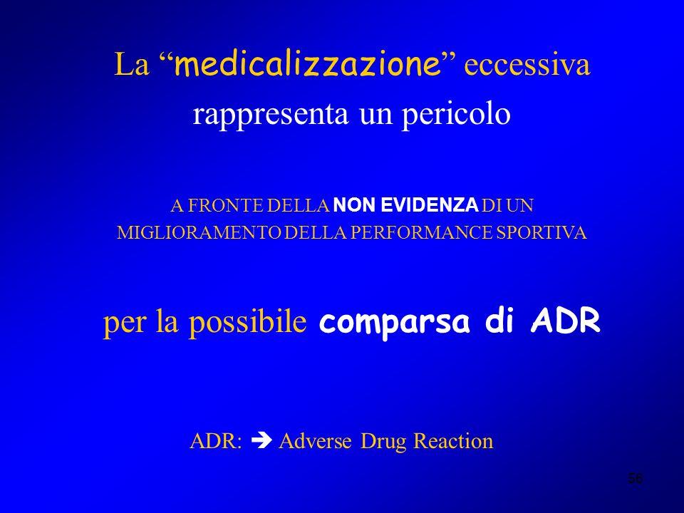 56 La medicalizzazione eccessiva rappresenta un pericolo A FRONTE DELLA NON EVIDENZA DI UN MIGLIORAMENTO DELLA PERFORMANCE SPORTIVA per la possibile c