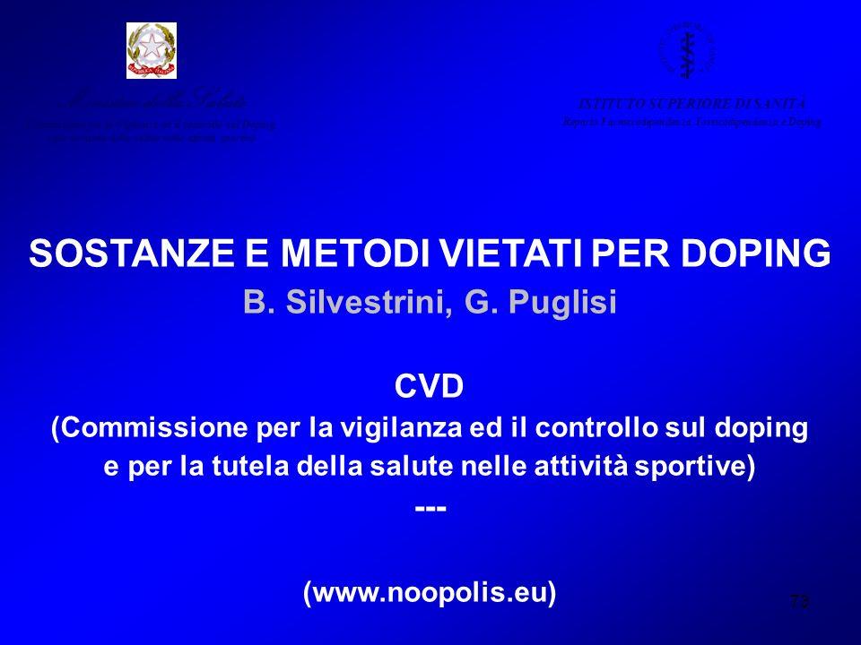 73 SOSTANZE E METODI VIETATI PER DOPING B. Silvestrini, G. Puglisi CVD (Commissione per la vigilanza ed il controllo sul doping e per la tutela della