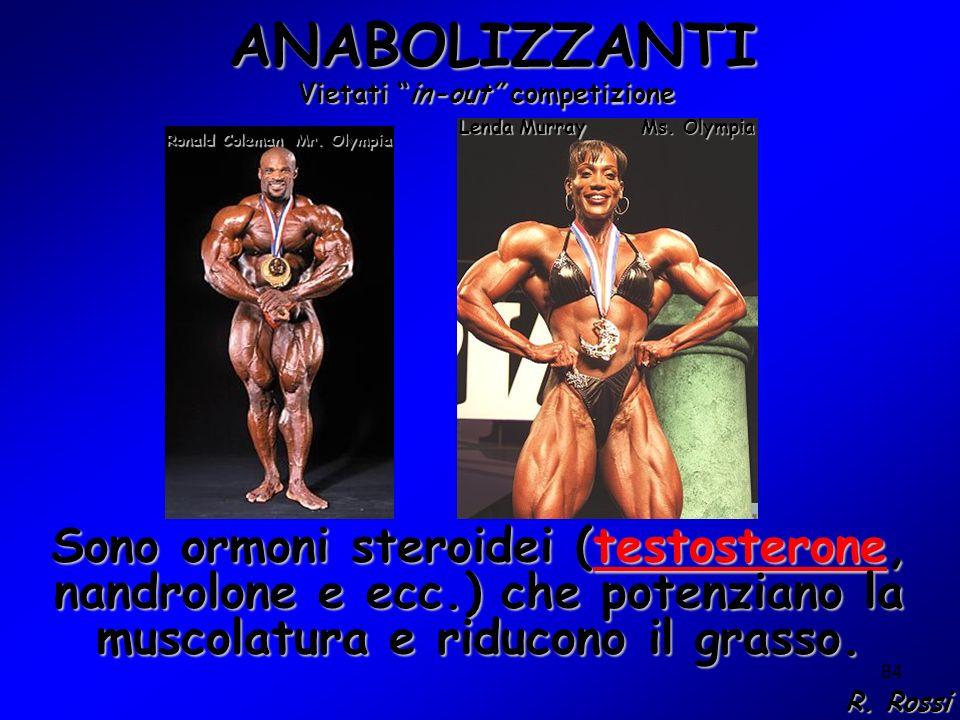 84 ANABOLIZZANTI ANABOLIZZANTI Sono ormoni steroidei (testosterone, nandrolone e ecc.) che potenziano la muscolatura e riducono il grasso. Mr. Olympia