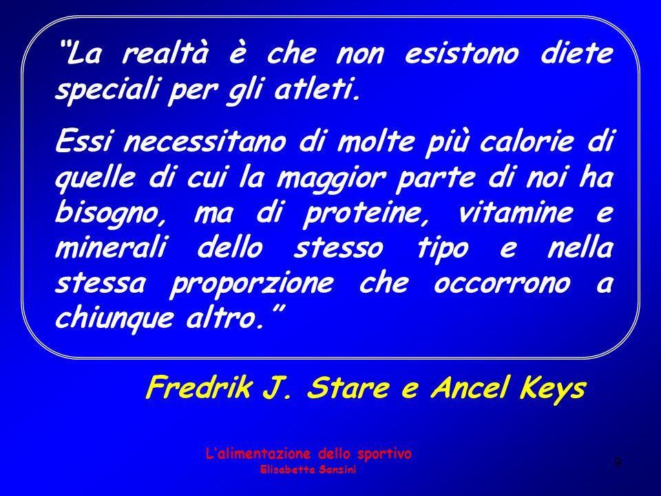 9 Fredrik J. Stare e Ancel Keys Lalimentazione dello sportivo Elisabetta Sanzini La realtà è che non esistono diete speciali per gli atleti. Essi nece