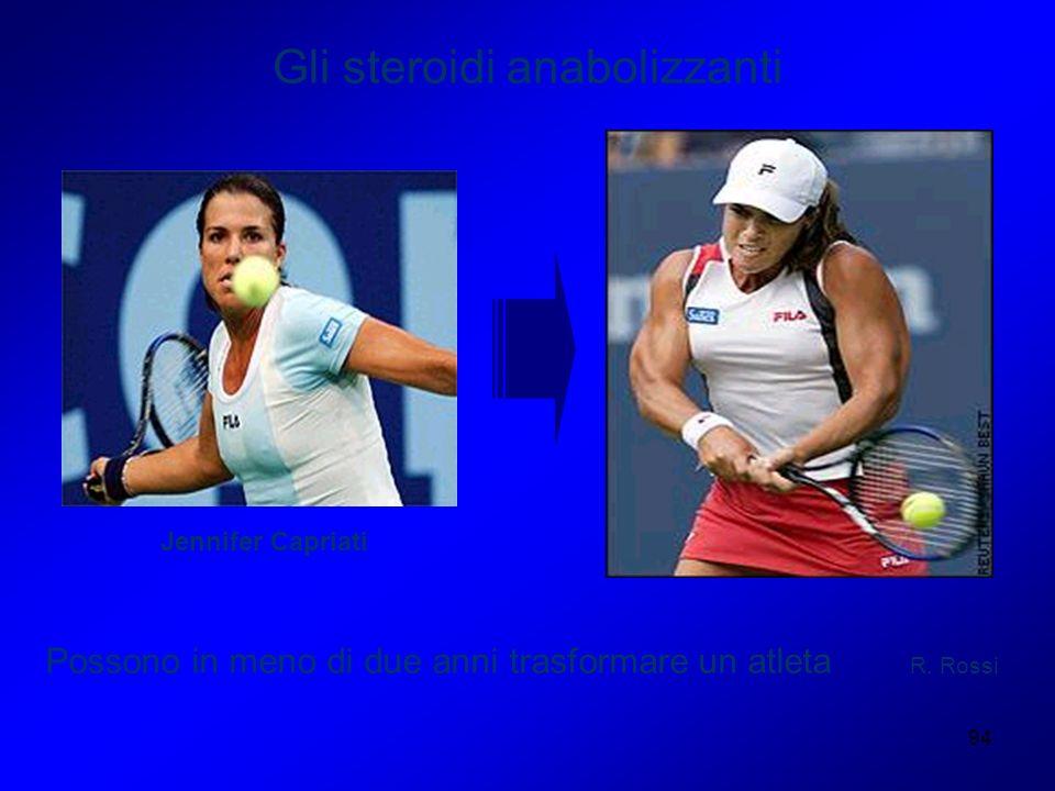 94 Gli steroidi anabolizzanti Possono in meno di due anni trasformare un atleta Jennifer Capriati R. Rossi