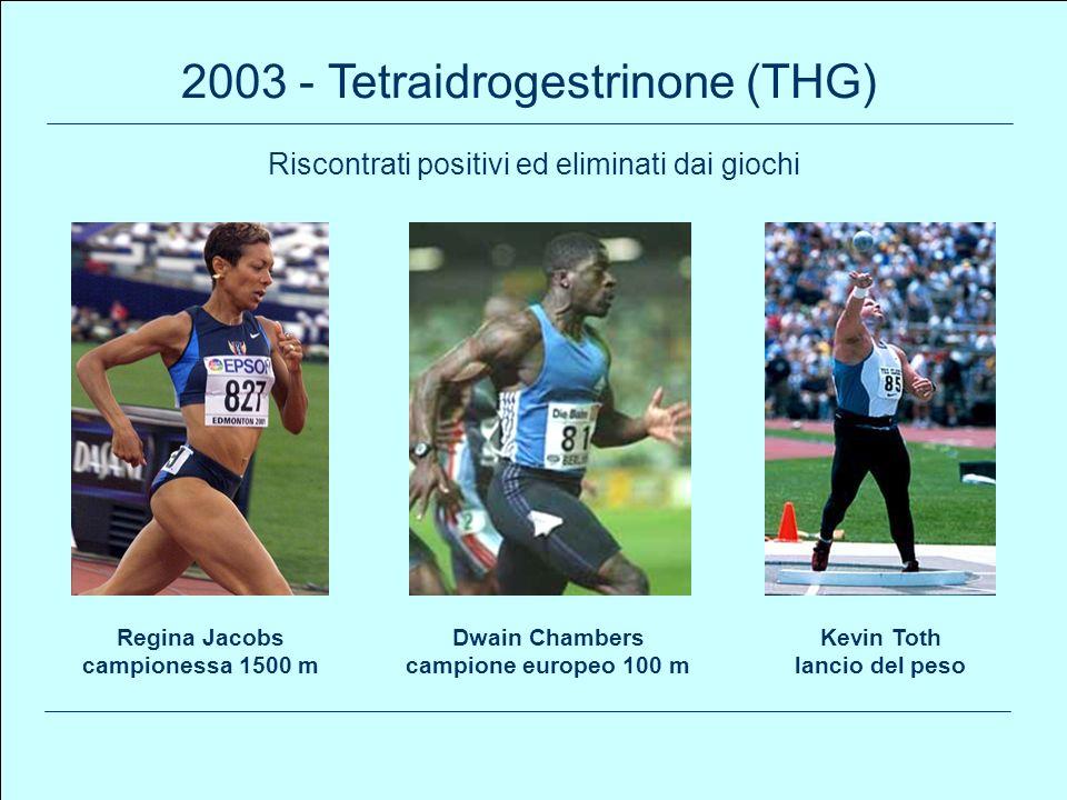 99 2003 - Tetraidrogestrinone (THG) Regina Jacobs campionessa 1500 m Kevin Toth lancio del peso Dwain Chambers campione europeo 100 m Riscontrati posi