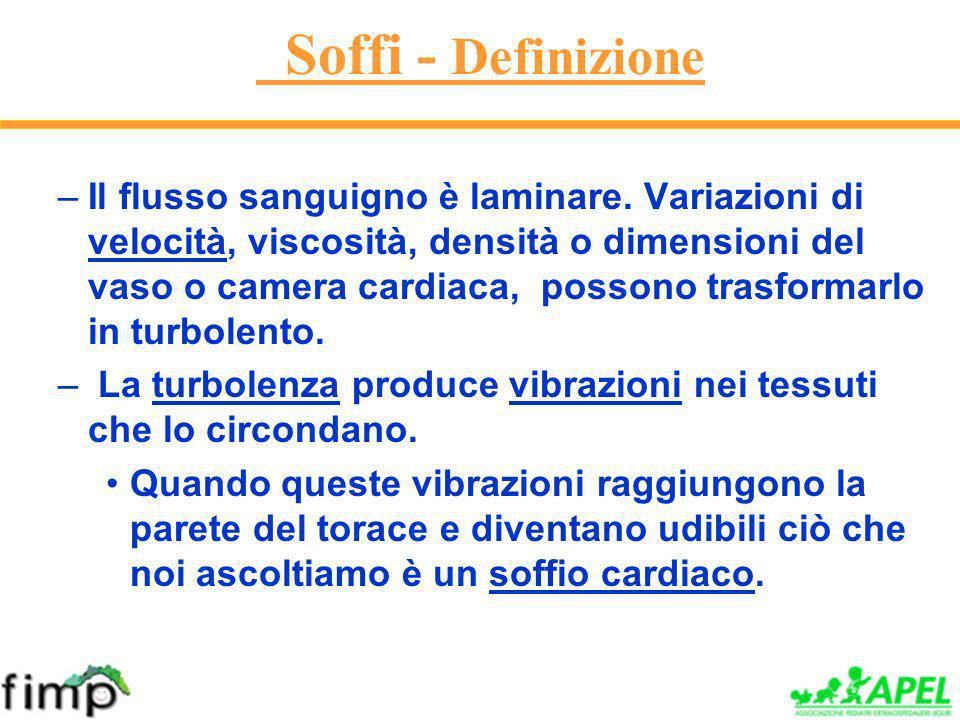 Soffi - Definizione –Il flusso sanguigno è laminare.