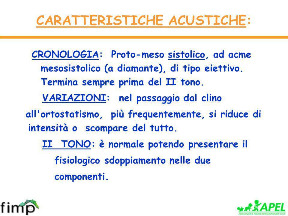 CARATTERISTICHE ACUSTICHE: CRONOLOGIA: Proto-meso sistolico, ad acme mesosistolico (a diamante), di tipo eiettivo.