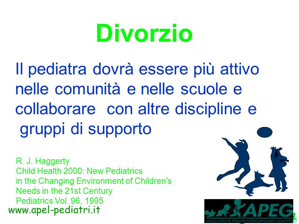 www.apel-pediatri.it Divorzio La risposta iniziale di un bambino ad una separazione non può essere utilizzata per predire lassetto emozionale a lungo termine