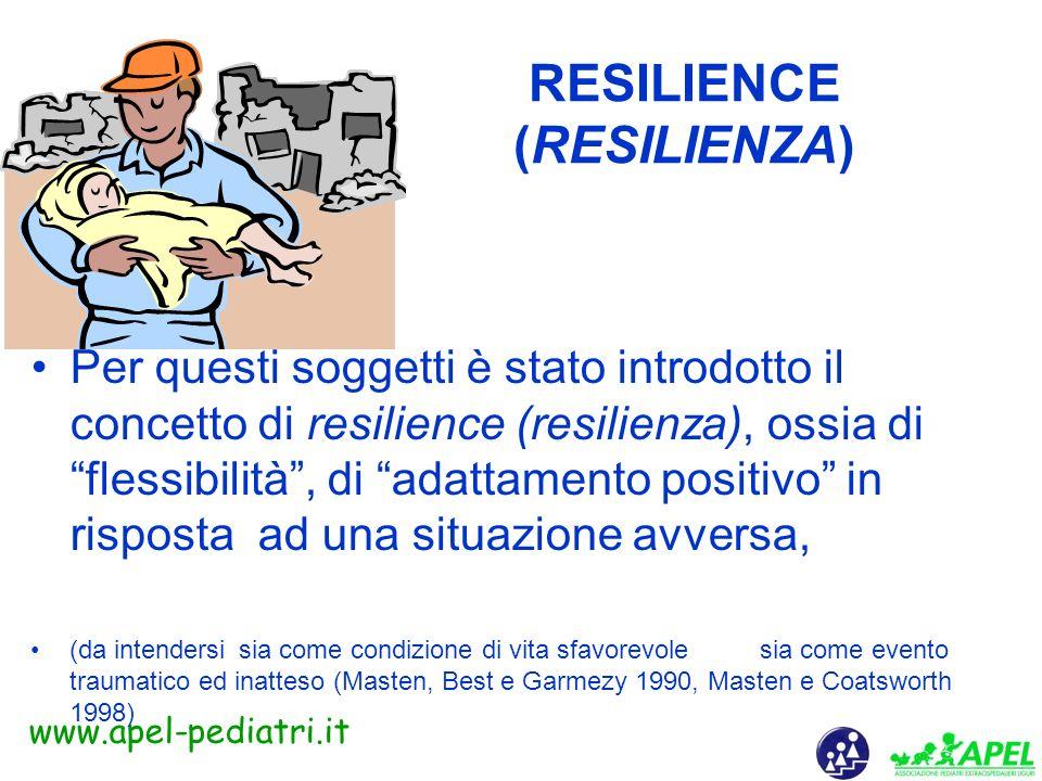 www.apel-pediatri.it LA CAPACITA DI RESISTERE Perché alcune persone crollano sotto il peso degli stress mentre altre sembrano attraversare indenni avv