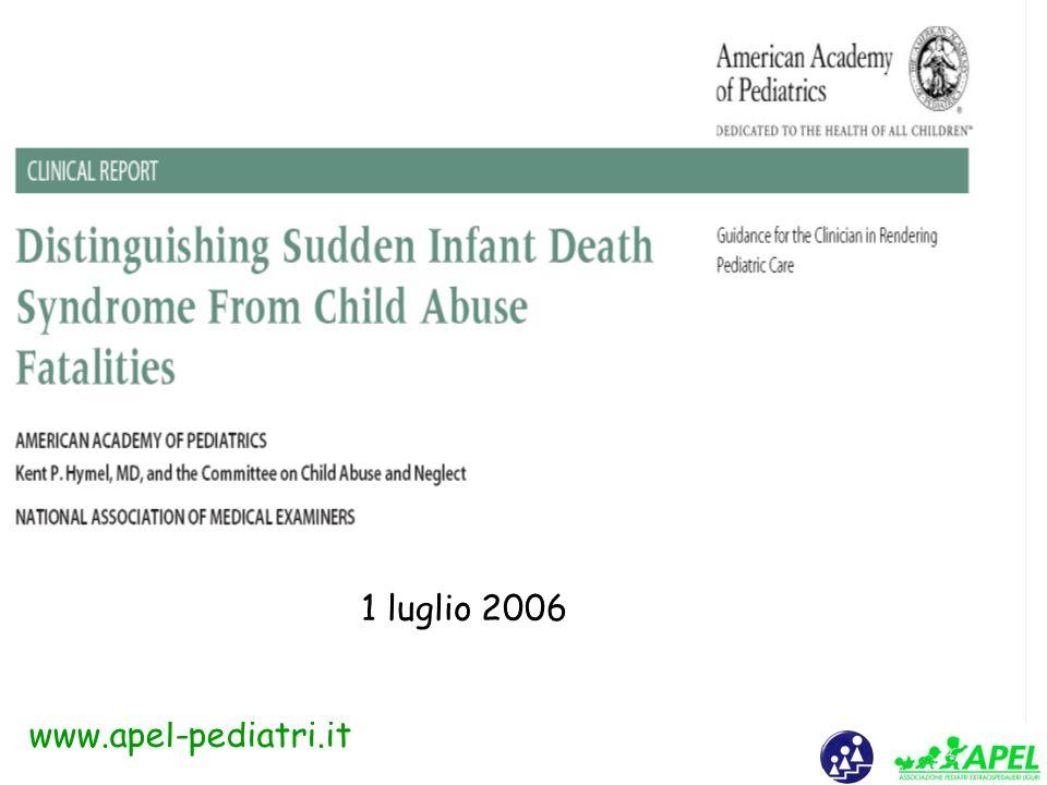 www.apel-pediatri.it SIDS Probabili cause Alterazioni elettriche cardiache Alterazioni centrali bulbari (centro del ritmo) Alterazioni neurotrasmettitori Alterazioni endorfine ……