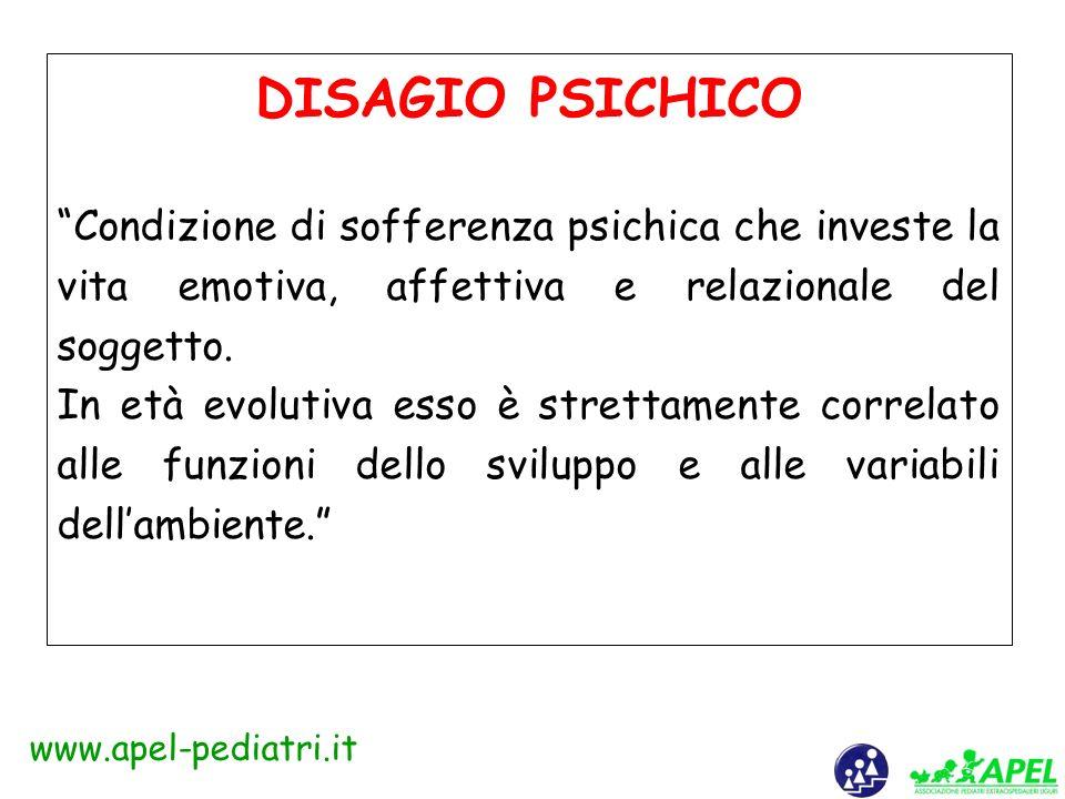 www.apel-pediatri.it Il termine disagio ha molteplici valenze semantiche, è composto da dis e agio : il primo indica separazione, dispersione, movimen