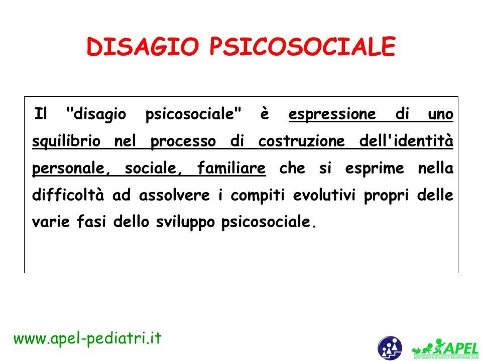 www.apel-pediatri.it DISAGIO PSICHICO Condizione di sofferenza psichica che investe la vita emotiva, affettiva e relazionale del soggetto. In età evol