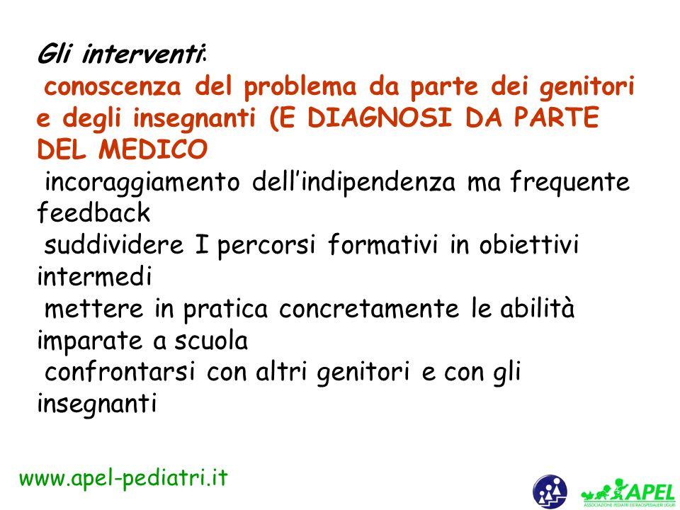 www.apel-pediatri.it Come si fa la diagnosi? Valutare la capacità di apprendimento, pensiero, risoluzione di problemi e di dare un senso al mondo (IQ