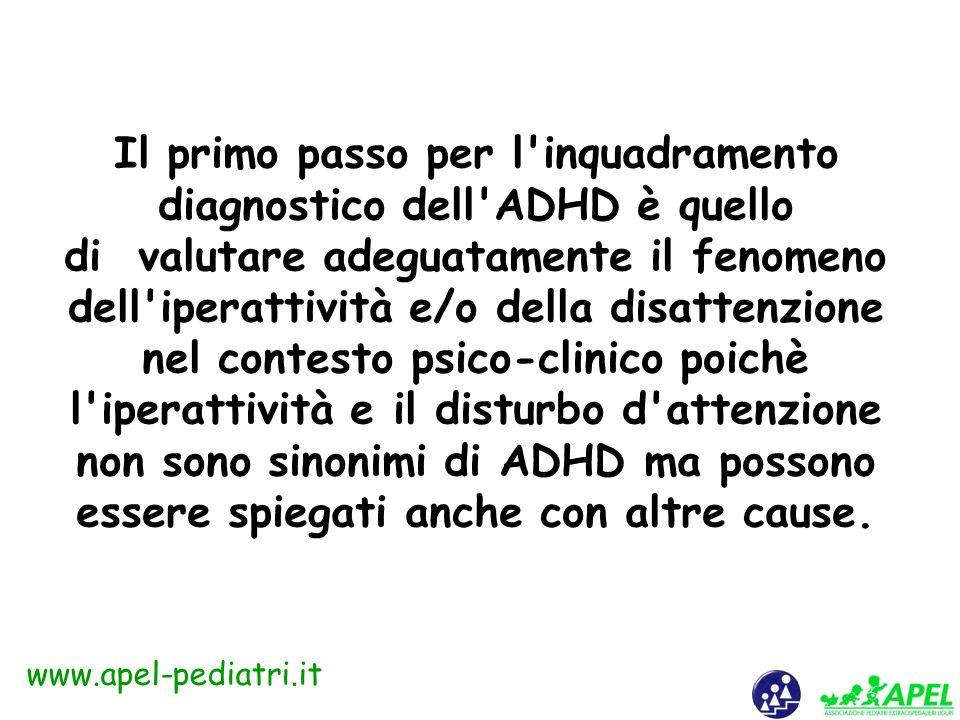 www.apel-pediatri.it I due terzi dei bambini con ADHD presentano sintomi di altri disturbi e/o situazioni sociali e ambientali disagiate; è auspicabil