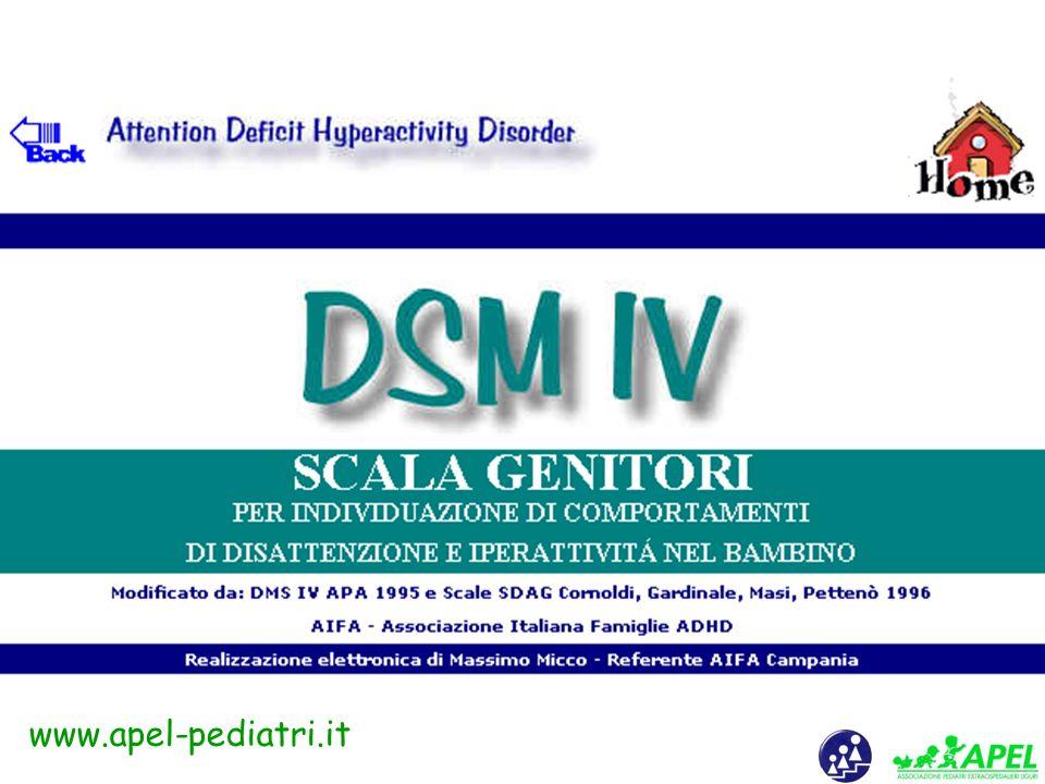 www.apel-pediatri.it Il primo passo per l'inquadramento diagnostico dell'ADHD è quello di valutare adeguatamente il fenomeno dell'iperattività e/o del