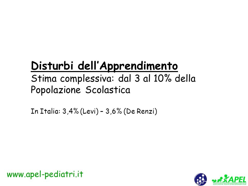 www.apel-pediatri.it Disturbi pervasivi dello sviluppo: forme cliniche secondo DSM-IV e ICD-10 A) Autismo infantile B) Sindrome di Rett C) Disturbo disintegrativo dellinfanzia D) Sindrome di Asperger E) Disturbi generalizzati dello sviluppo non altrimenti specificati (comprendenti lautismo atipico codificato dallICD- 1O) F) Sindrome iperattiva associata a ritardo mentale e movimenti stereotipati (ICD-10).