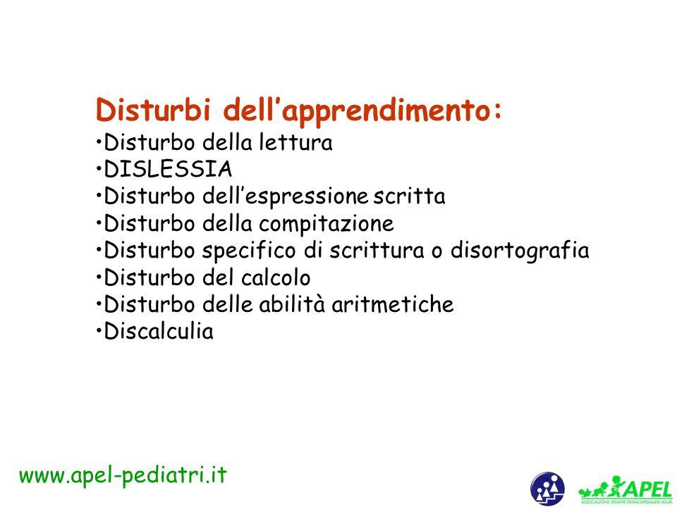 www.apel-pediatri.it Comorbidità dei Disturbi di Apprendimento con altre categorie psicopatologiche 10-25% di soggetti affetti da: disturbi della condotta, disturbo Oppositivo-Provocatorio, ADHD, disturbo Depressivo Maggiore, Disturbo Distimico