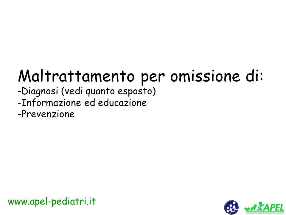 www.apel-pediatri.it Il maltrattamento più impensabile: il maltrattamento intrascolastico «Le vie dellinferno sono lastricate di buone intenzioni.» (proverbio italiano)