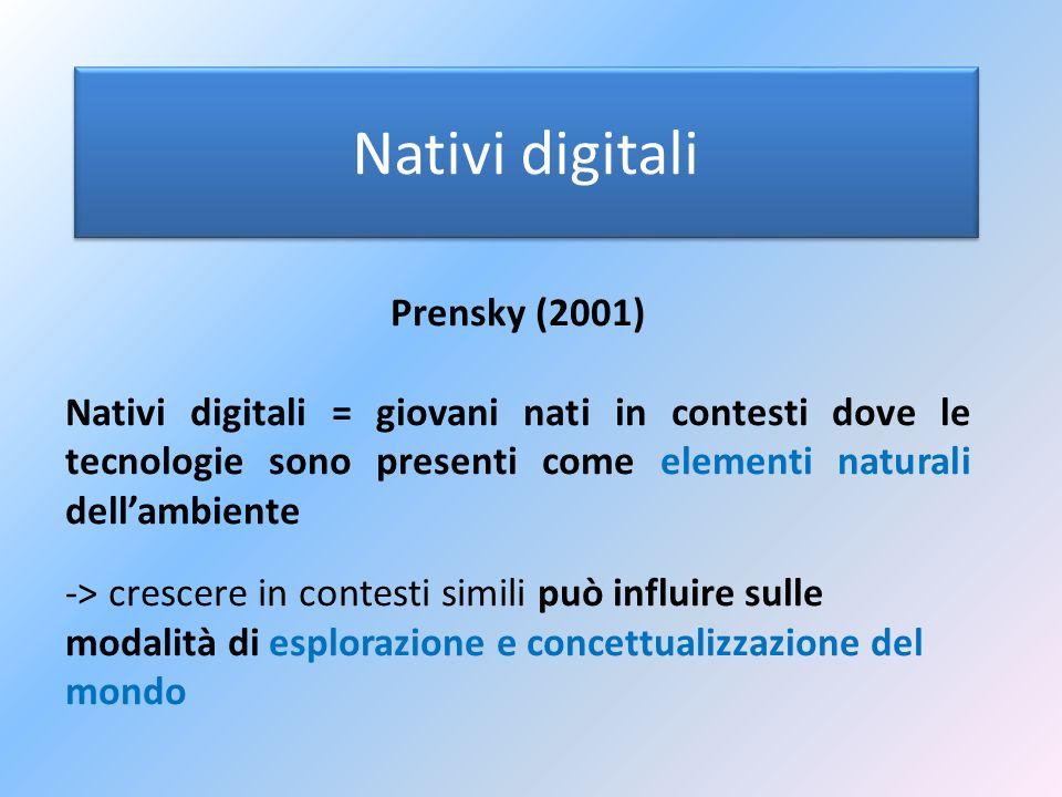 Nativi digitali Prensky (2001) Nativi digitali = giovani nati in contesti dove le tecnologie sono presenti come elementi naturali dellambiente -> cres