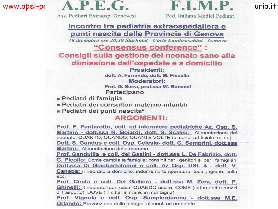www.apel-pediatri.itwww.fimpliguria.it La prossima riunione dell APEG avverrà giovedi 27 novembre 1997 alle ore 21 al Gaslini in Aula Magna e conciderà con la riunione del Dipartimento materno infantile (DAMI: dipartimento aperto materno-infantile).