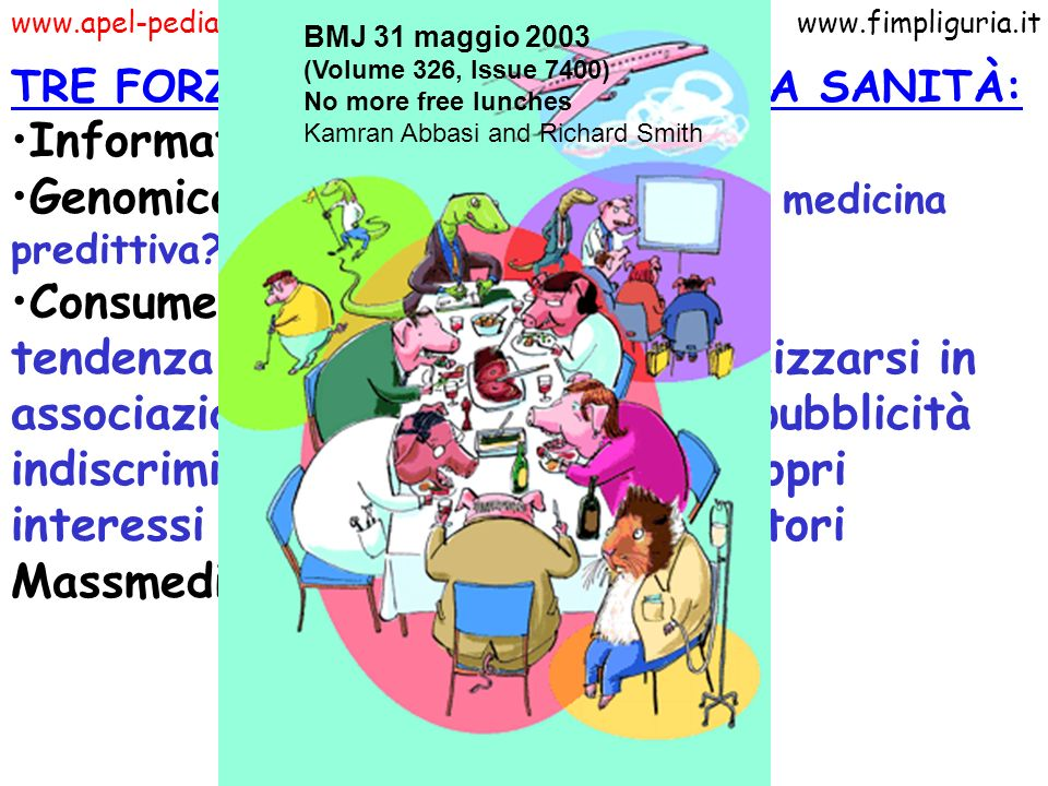 www.apel-pediatri.itwww.fimpliguria.it TRE FORZE CHE INFLUENZANO LA SANITÀ: Informatica Genomica: da medicina preventiva a medicina predittiva? Consum
