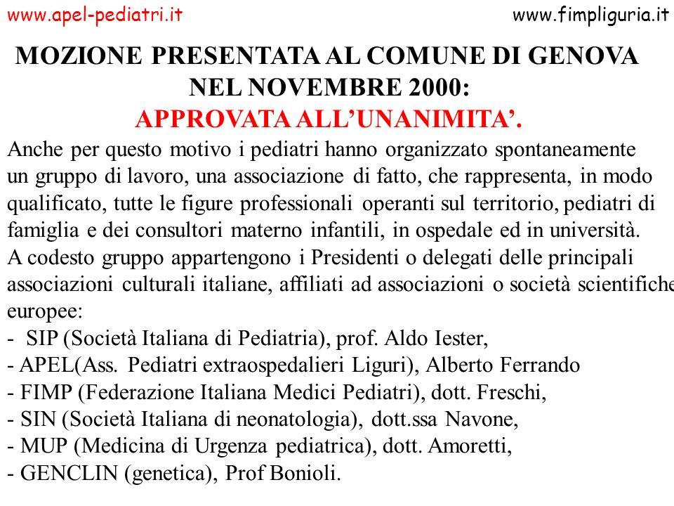 www.apel-pediatri.itwww.fimpliguria.it MOZIONE PRESENTATA AL COMUNE DI GENOVA NEL NOVEMBRE 2000: APPROVATA ALLUNANIMITA. Anche per questo motivo i ped