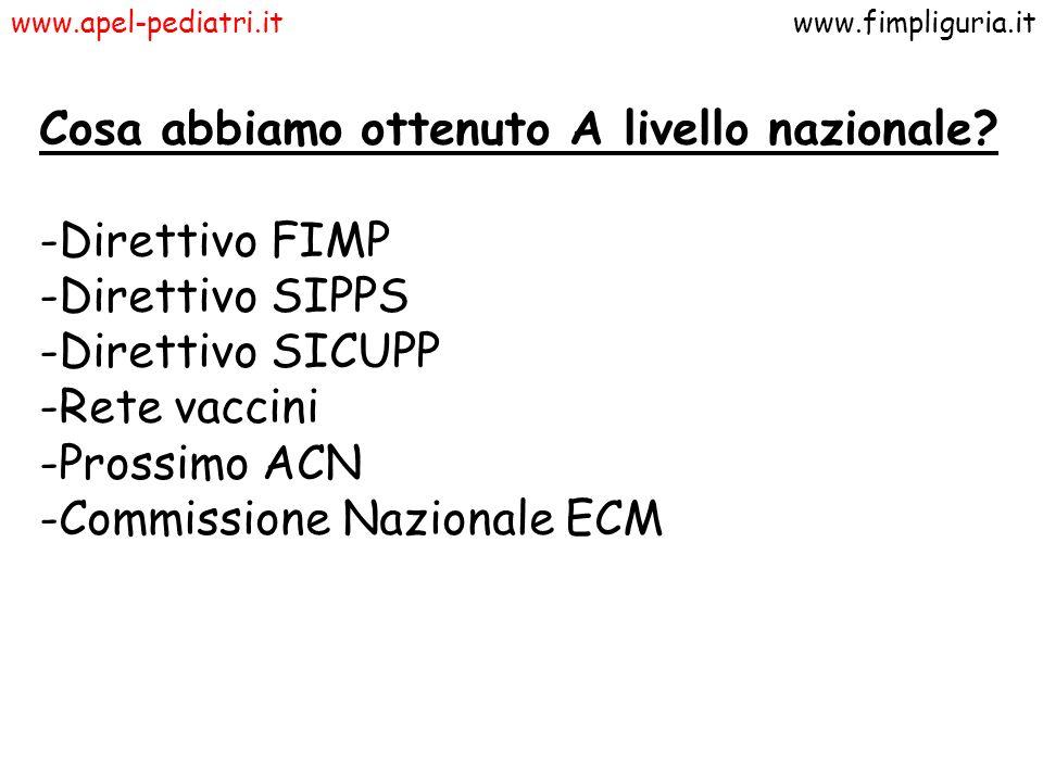 www.apel-pediatri.itwww.fimpliguria.it Cosa abbiamo ottenuto A livello nazionale? -Direttivo FIMP -Direttivo SIPPS -Direttivo SICUPP -Rete vaccini -Pr
