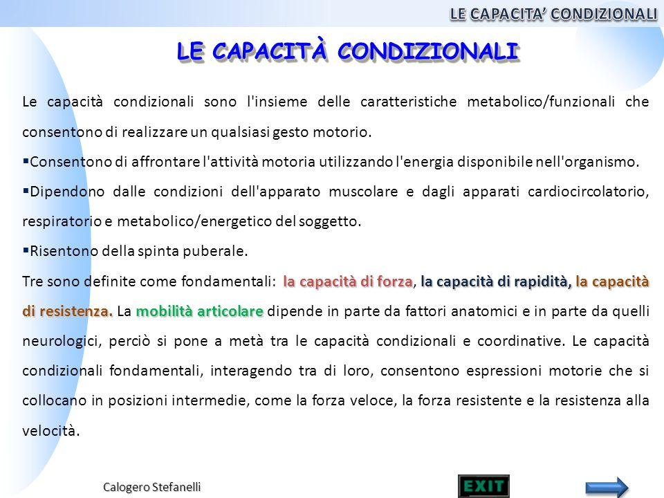 Calogero Stefanelli Le capacità condizionali sono l'insieme delle caratteristiche metabolico/funzionali che consentono di realizzare un qualsiasi gest