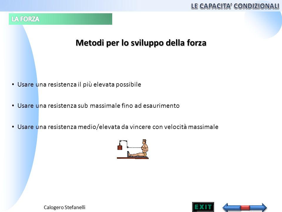 Calogero Stefanelli Metodi per lo sviluppo della forza Usare una resistenza il più elevata possibile Usare una resistenza sub massimale fino ad esauri